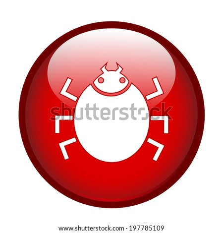 Bug sign on red glossy button - stock vector