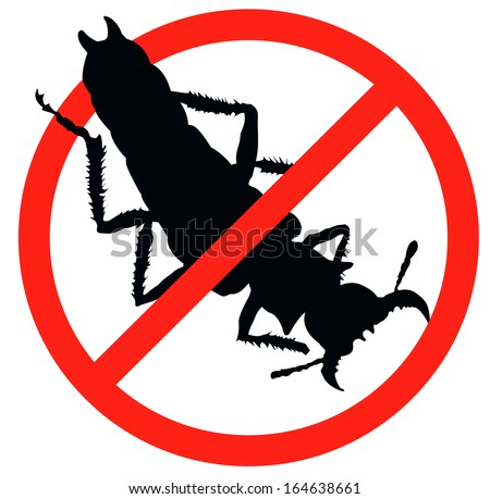 Bug vector silhouette isolated. Insect repellent emblem - stock vector