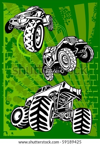 Buggy and Bike.Vector Illustration.Vinyl Ready. - stock vector
