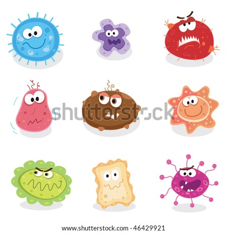 Bugs and germs I. Swine flu, cancer, staphylococcus or trojan virus? Use my BIG COLLECTIONS of bugs and germs. 9 pieces of nasty germs in one collection. - stock vector