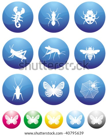 bugs blue button icons