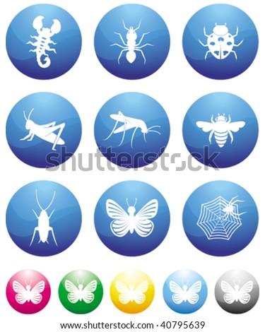 bugs blue button icons - stock vector