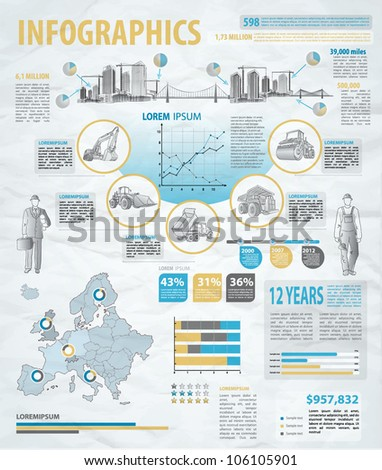 build info graphic vector with map of Europe. Easy to edit countries - stock vector