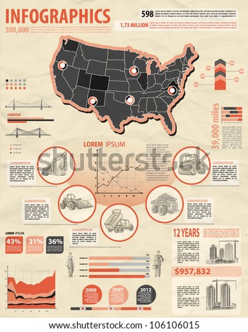 build info graphic vector with map of USA. Easy to edit states - stock vector