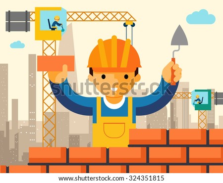 Builder builds brick wall of house. Worker or masonry, work with trowel, man in helmet. Vector illustration - stock vector
