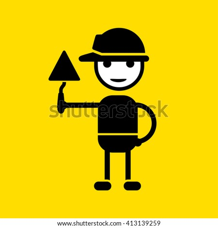 Builder character in a safety helmet holding a trowel. - stock vector