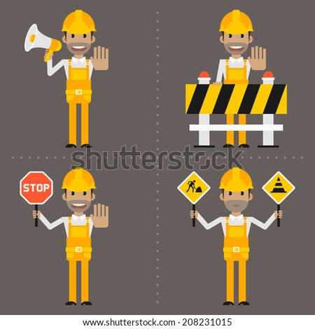 Builder concept prohibiting signs - stock vector