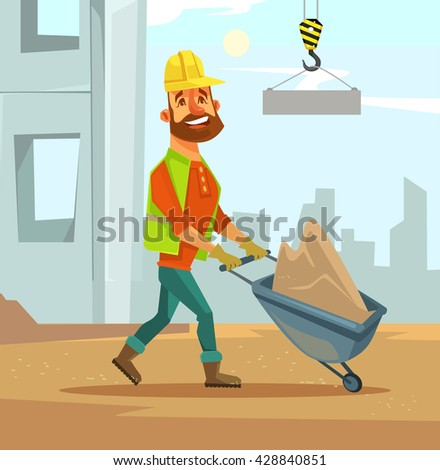 Builder. Construction industry. Vector flat cartoon illustration  - stock vector