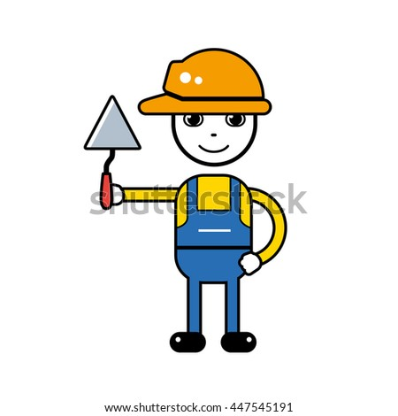 Builder handyman character in a safety helmet holding a trowel tool, vector icon isolated. - stock vector