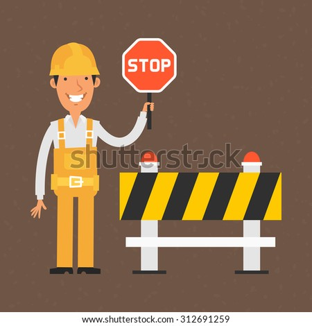 Builder holding stop sign and smiling - stock vector
