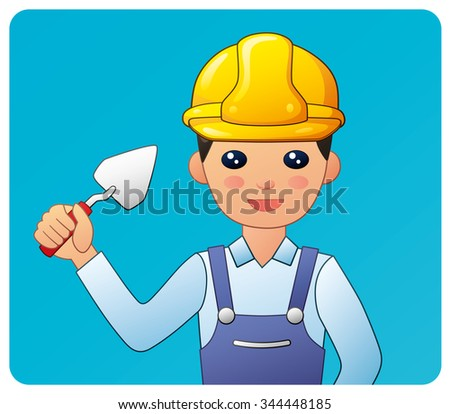 Builder in a yellow safety helmet holding a trowel on a blue background. - stock vector