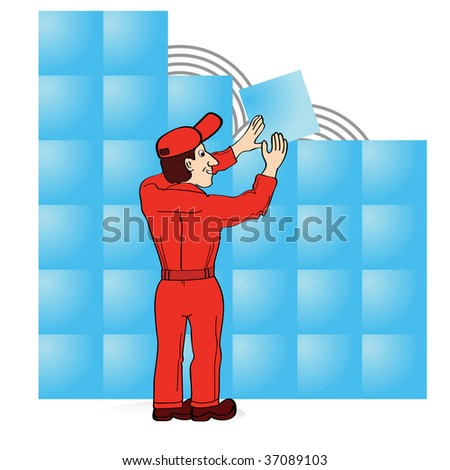 Builder in red boiler suit laying tiles - stock vector
