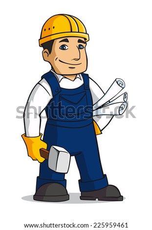 Builder man in cartoon style with hammer and plans - stock vector