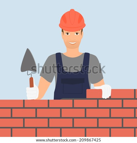 Builder man is building a brick wall. - stock vector