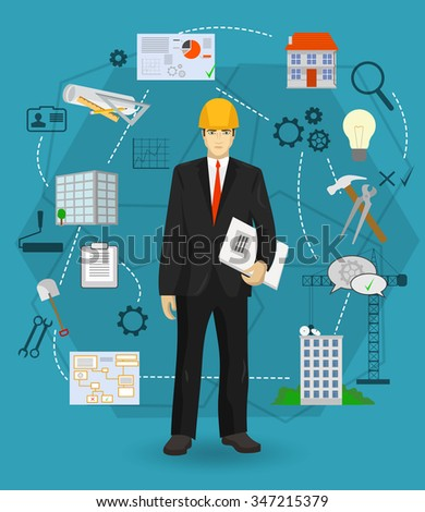 Builder man manager worker concept with flat icons. Construction and building professions. - stock vector