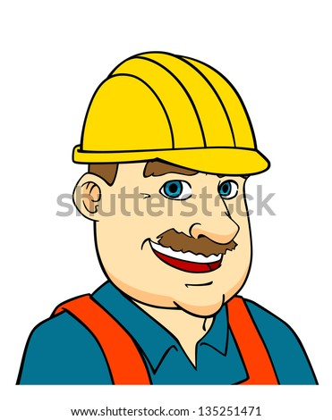 Builder man or engineer in cartoon style for construction industry concept design. Jpeg version also available in gallery - stock vector