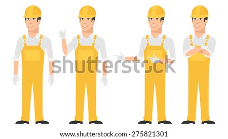 Builder pointing in various poses - stock vector