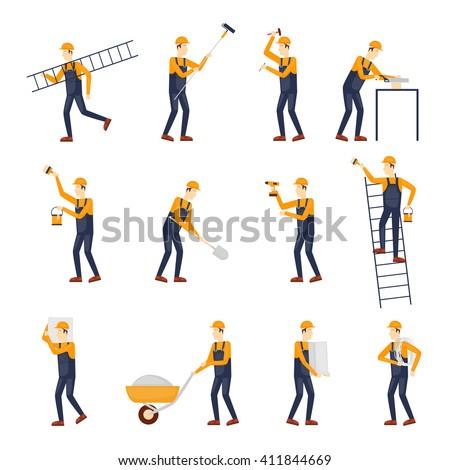 Builder, Repairs, Construction builder in yellow helmet working with different tools. Engineer. Worker Builder. Flat design vector illustration. - stock vector