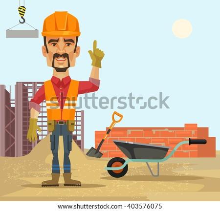 Builder. Vector flat cartoon illustration - stock vector