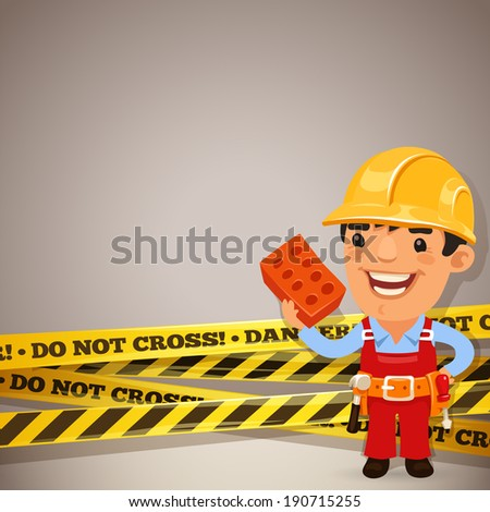 Builder With Danger Tapes. In the EPS file, each element is grouped separately. - stock vector