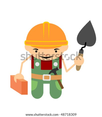 Builder with the brick and trowel - stock vector