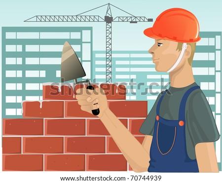 Builder with trowel - stock vector