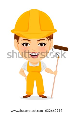 Builder woman. Funny female worker with big head holding long paint roller. Humorous cartoon character painter. Vector illustration.