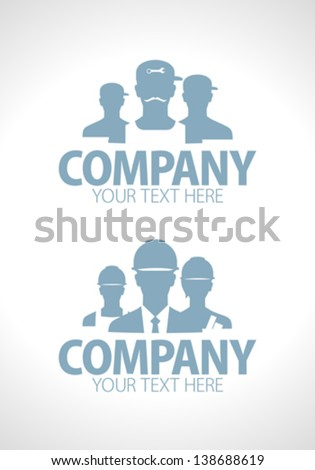 Builders and repairers team silhouette designs - stock vector