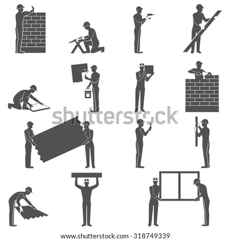 Builders black icons set with handyman people silhouettes isolated vector illustration - stock vector
