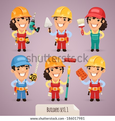 Builders Cartoon Characters Set1.1  In the EPS file, each element is grouped separately. - stock vector