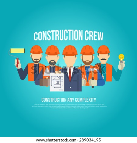 Builders engineers and work men in hard hats concept flat vector illustration - stock vector