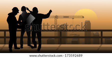 builders is discussed against the background of the city, builders silhouettes, builders discuss