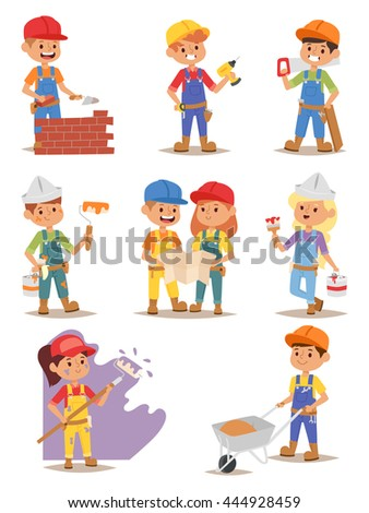 Builders kids carpenter boy builder tools set. Vector characters builders kids, cute child construction. Yellow helmet little person work equipment builders kids. Constructor game fun profession. - stock vector