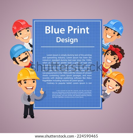 Builders Presenting Blue Print Poster. In the EPS file, each element is grouped separately. - stock vector