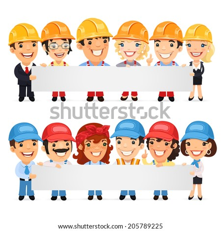 Builders Presenting Empty Horizontal Banner. In the EPS file each element is grouped separately. - stock vector