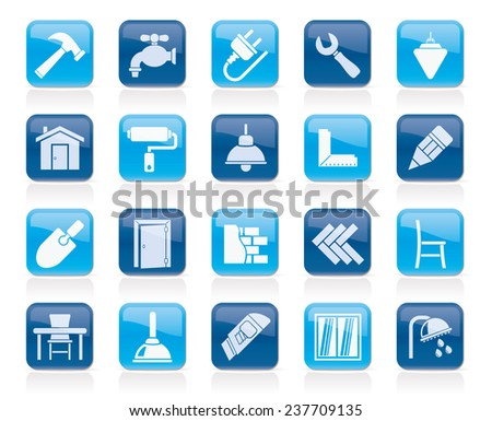 Building and home renovation icons - vector icon set - stock vector