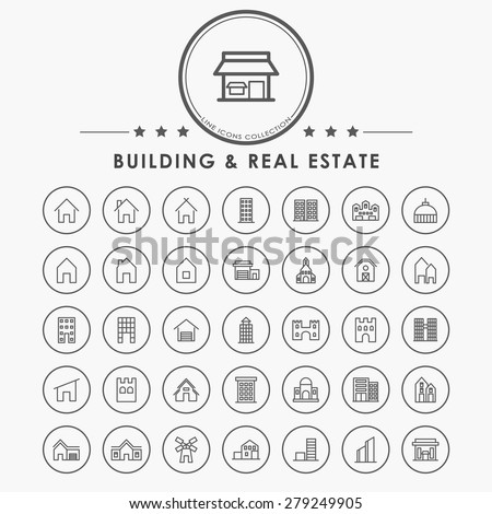 building and real estate line icons with circle button