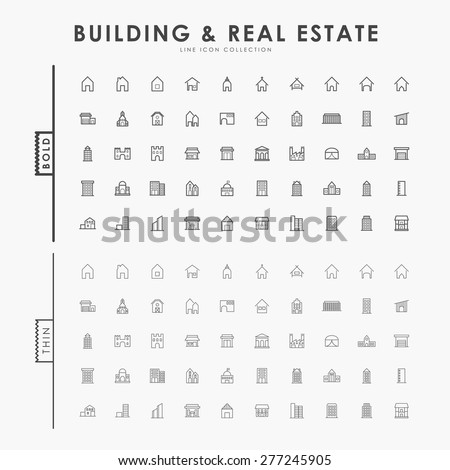 building and real estate on bold and thin outline icons concept - stock vector