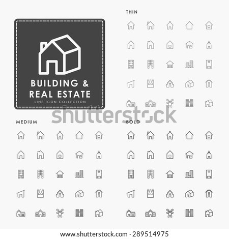 building and real estate on thin, medium and bold line icons concept - stock vector