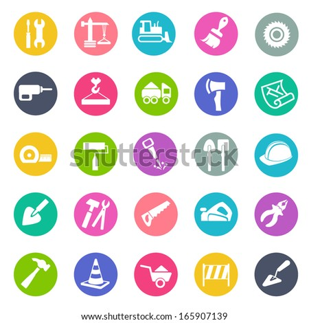 Building and tools icons - stock vector