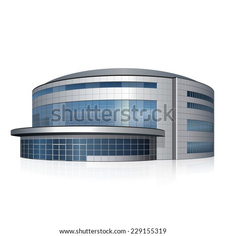 building athletic field with reflection on a white background