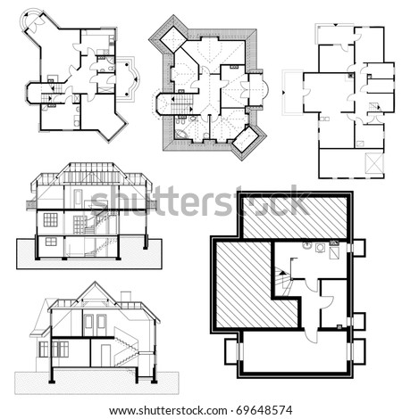 Outline Vector Simple Furniture Plan Floor Stock Vector