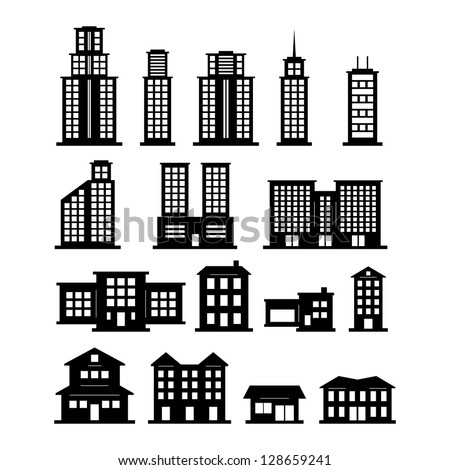Building black and white set - stock vector