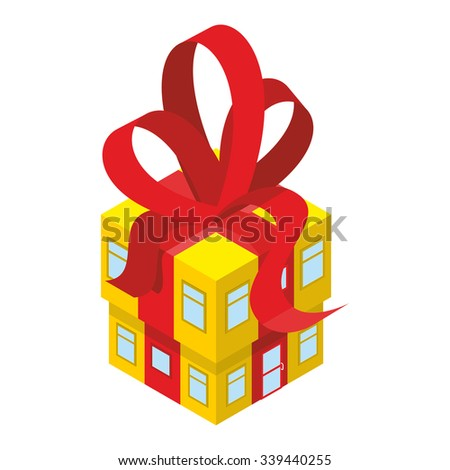 Building box gift with red bow. Yellow House with tape. In festive box with Windows and doors. An unusual House. Concept for more celebratory office building. - stock vector