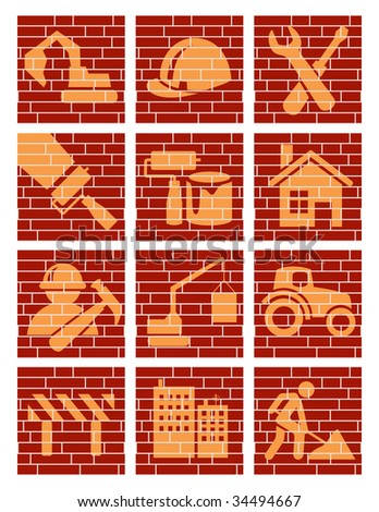 Building brick icons, vector illustration, EPS file included - stock vector