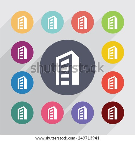 building circle, flat icons set. Round colorful buttons  - stock vector