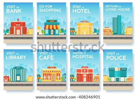 Building city information cards set. Architecture template of flyear, magazines, poster, book cover, banners. Construction infographic background. Layout illustrations modern pages with typography - stock vector
