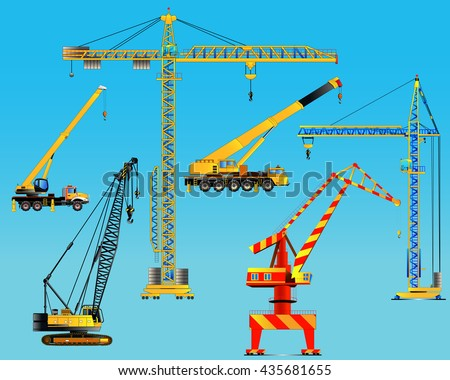 Building construction cranes set. Isolated on blue. Detailed vector illustration. Icon. Flat style
