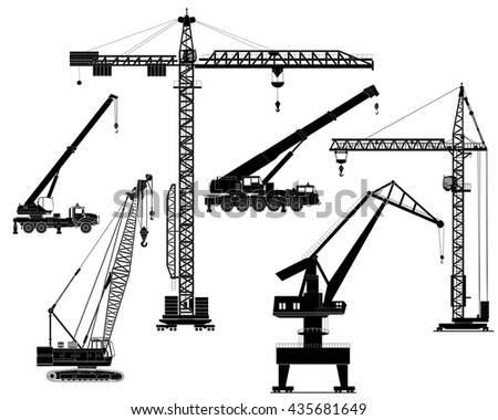Building construction cranes set. Isolated on white, vector detailed illustration. Icon. Flat style. Silhouettes