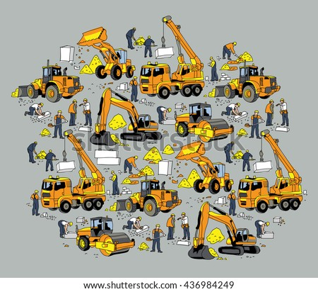Building construction worker and equipment color objects. Color vector illustration. EPS8